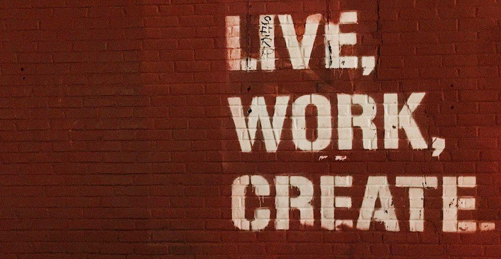 Wandspruch 'Live, Work, Create' - Motivation Coworking